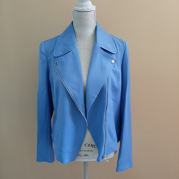 Massimo Dutti Blue Biker Jacket